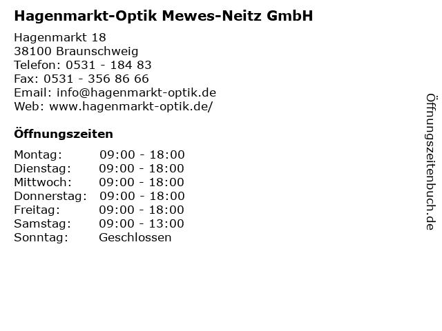 Hagenmarkt-Optik Mewes-Neitz GmbH in Braunschweig: Adresse und Öffnungszeiten