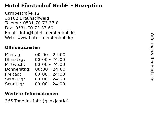 Hotel Fürstenhof GmbH - Rezeption in Braunschweig: Adresse und Öffnungszeiten
