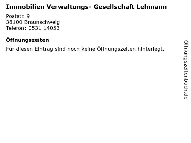 Immobilien Verwaltungs- Gesellschaft Lehmann in Braunschweig: Adresse und Öffnungszeiten
