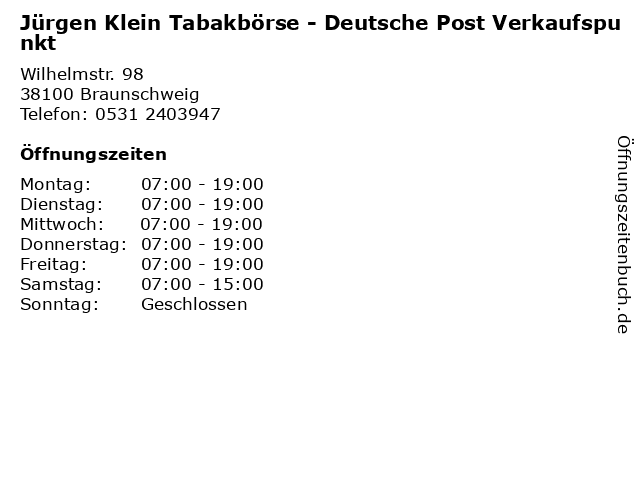 Jürgen Klein Tabakbörse - Deutsche Post Verkaufspunkt in Braunschweig: Adresse und Öffnungszeiten