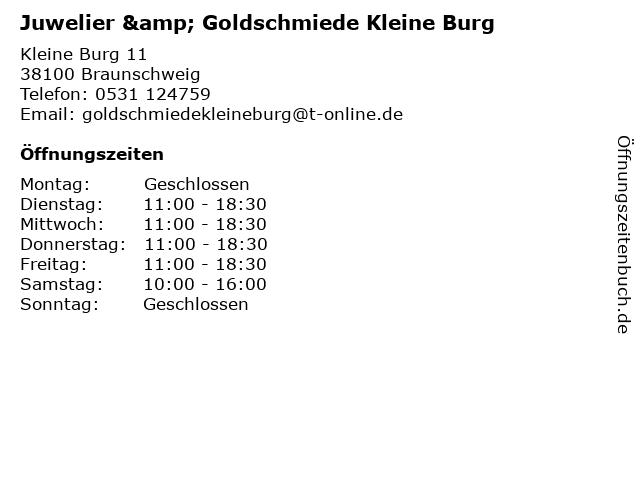 Juwelier & Goldschmiede Kleine Burg in Braunschweig: Adresse und Öffnungszeiten