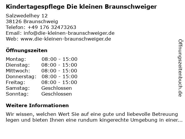 Kindertagespflege Die kleinen Braunschweiger in Braunschweig: Adresse und Öffnungszeiten