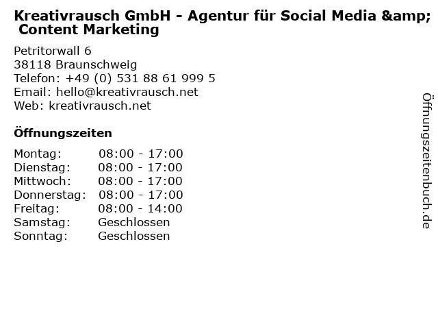 Kreativrausch GmbH - Agentur für Social Media & Content Marketing in Braunschweig: Adresse und Öffnungszeiten