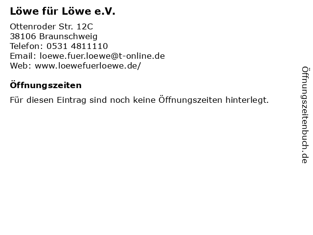 Löwe für Löwe e.V. in Braunschweig: Adresse und Öffnungszeiten