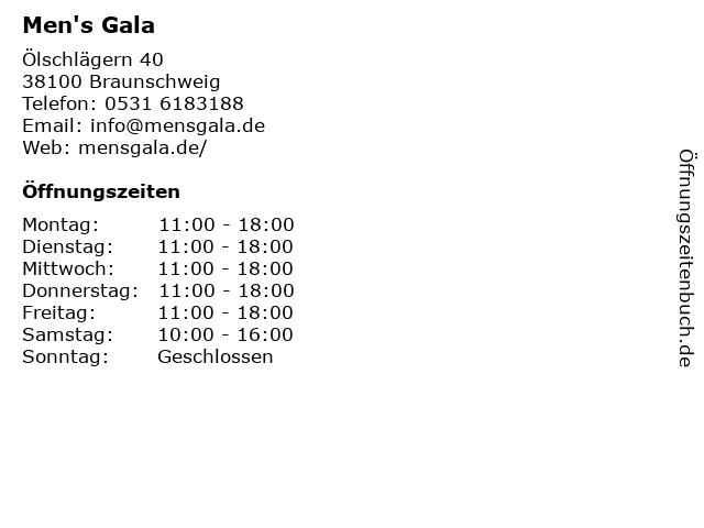 Men's Gala in Braunschweig: Adresse und Öffnungszeiten