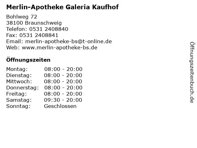 Merlin-Apotheke Galeria Kaufhof in Braunschweig: Adresse und Öffnungszeiten