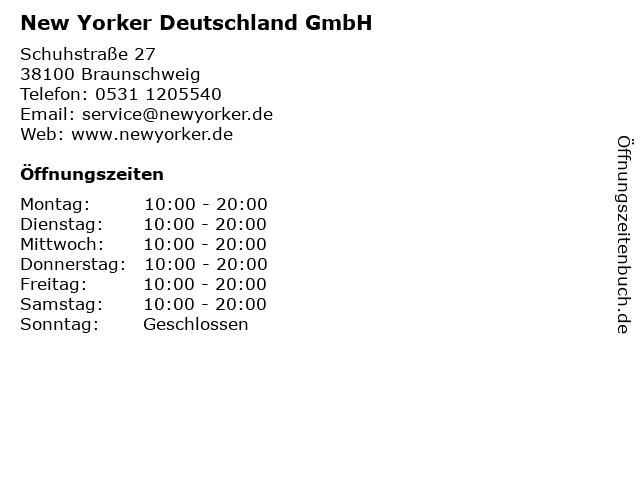 New Yorker Deutschland GmbH in Braunschweig: Adresse und Öffnungszeiten