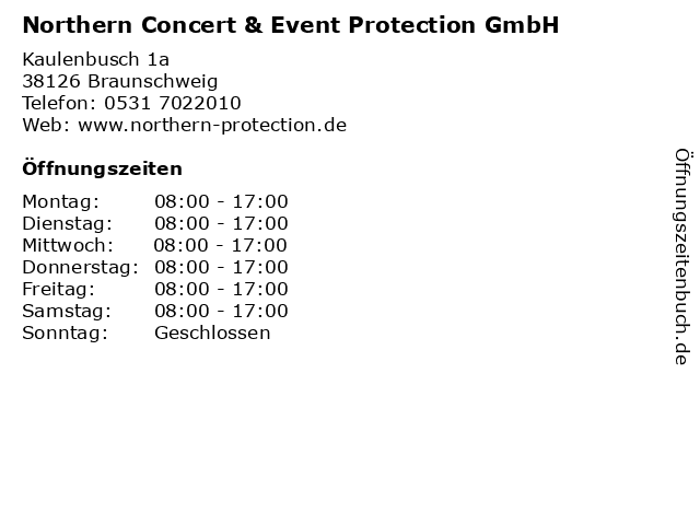 Northern Concert & Event Protection GmbH in Braunschweig: Adresse und Öffnungszeiten