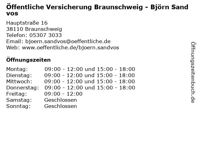 ᐅ Offnungszeiten Offentliche Versicherung Braunschweig Reinhard
