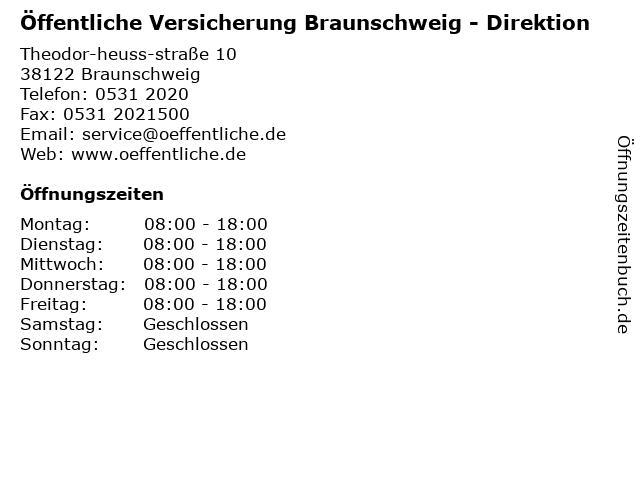 ᐅ Offnungszeiten Offentliche Versicherung Braunschweig Theodor