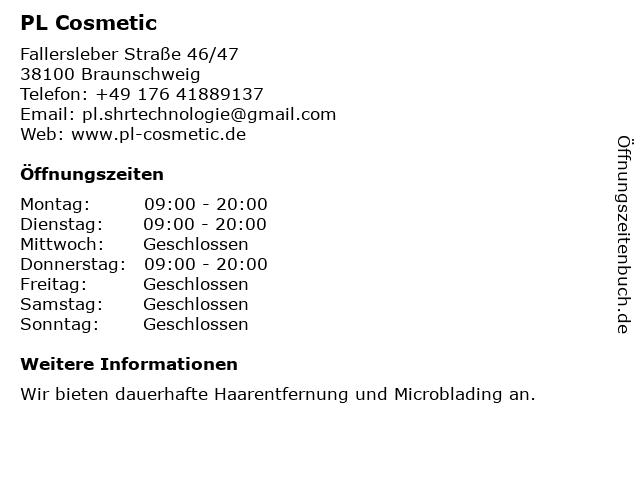 PL Cosmetic in Braunschweig: Adresse und Öffnungszeiten