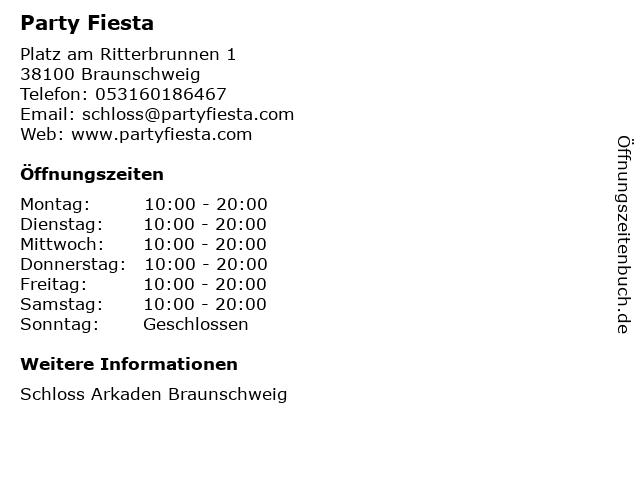 Party Fiesta in Braunschweig: Adresse und Öffnungszeiten
