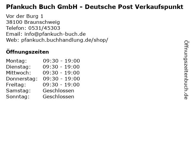 Pfankuch Buch GmbH - Deutsche Post Verkaufspunkt in Braunschweig: Adresse und Öffnungszeiten
