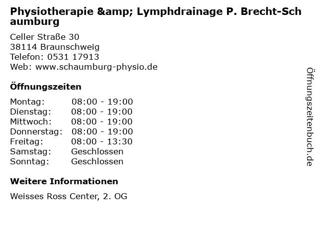 Physiotherapie & Lymphdrainage P. Brecht-Schaumburg in Braunschweig: Adresse und Öffnungszeiten