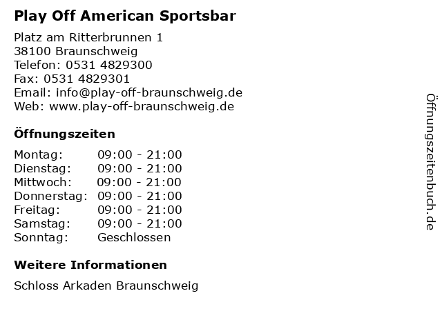 Play Off American Sportsbar in Braunschweig: Adresse und Öffnungszeiten