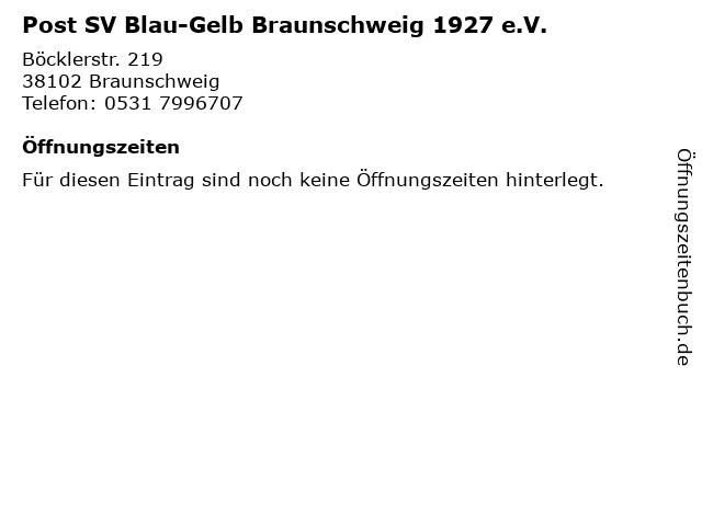 Post SV Blau-Gelb Braunschweig 1927 e.V. in Braunschweig: Adresse und Öffnungszeiten