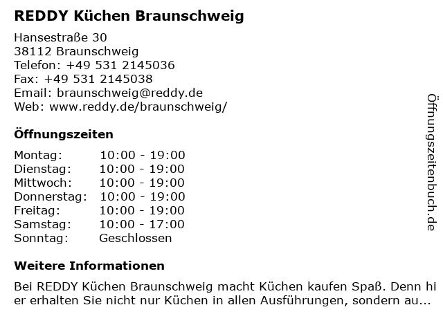 ᐅ Offnungszeiten Reddy Kuchen Braunschweig Hansestrasse 30 In