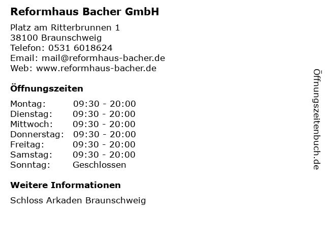 Reformhaus Bacher GmbH in Braunschweig: Adresse und Öffnungszeiten