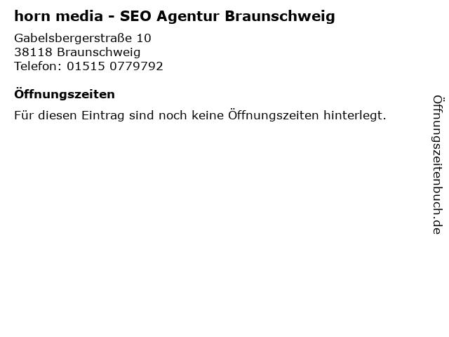 horn media in Braunschweig: Adresse und Öffnungszeiten