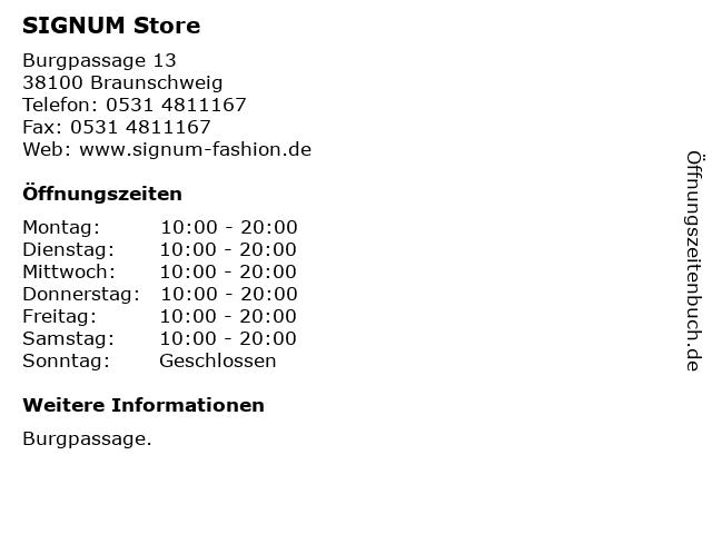 SIGNUM Store in Braunschweig: Adresse und Öffnungszeiten