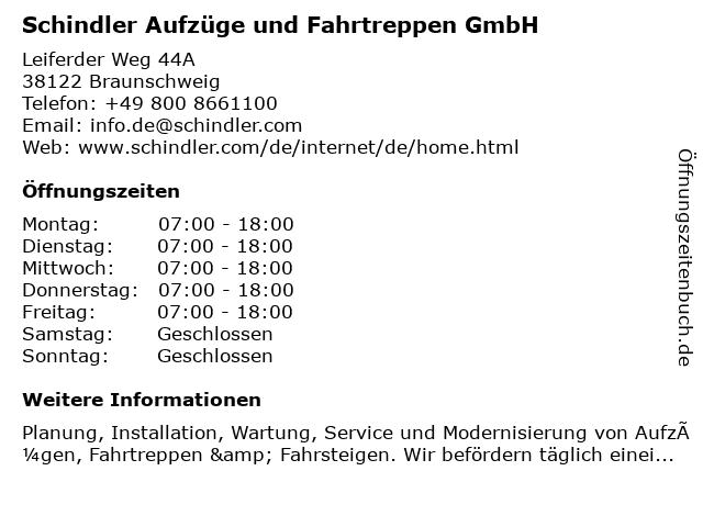 Schindler Aufzüge und Fahrtreppen GmbH in Braunschweig: Adresse und Öffnungszeiten