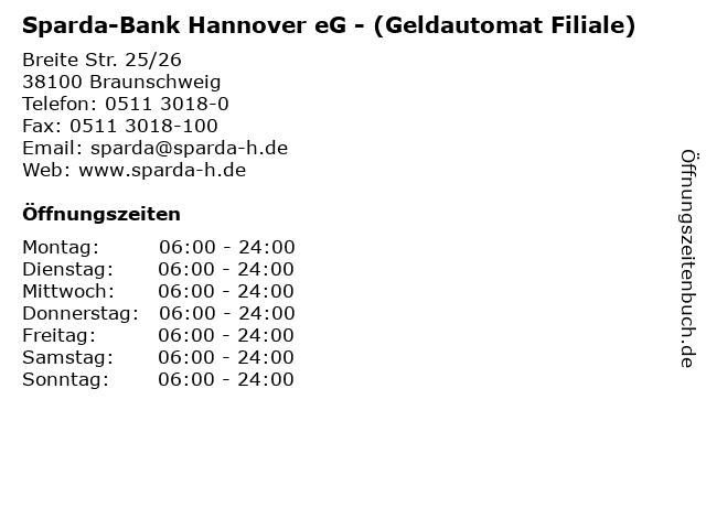 Sparda-Bank Hannover eG - (Geldautomat Filiale) in Braunschweig: Adresse und Öffnungszeiten