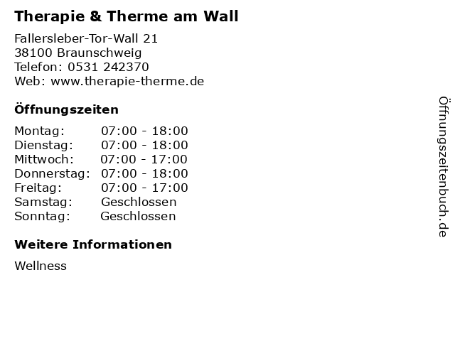 Therapie & Therme am Wall in Braunschweig: Adresse und Öffnungszeiten