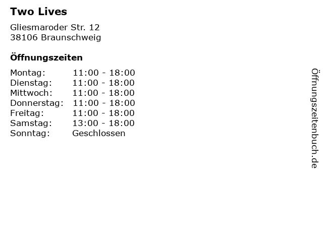 Two Lives in Braunschweig: Adresse und Öffnungszeiten