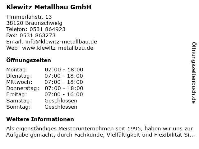 W. Klewitz Schlosserei & Metallbau in Braunschweig: Adresse und Öffnungszeiten