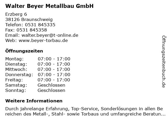 Walter Beyer Metallbau GmbH in Braunschweig: Adresse und Öffnungszeiten