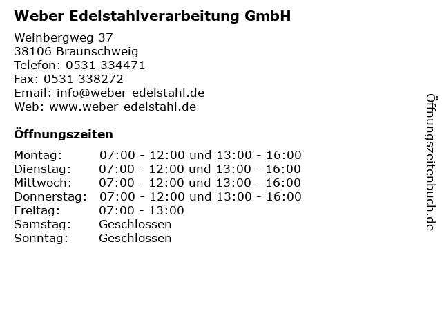 Weber Edelstahlverarbeitung GmbH in Braunschweig: Adresse und Öffnungszeiten