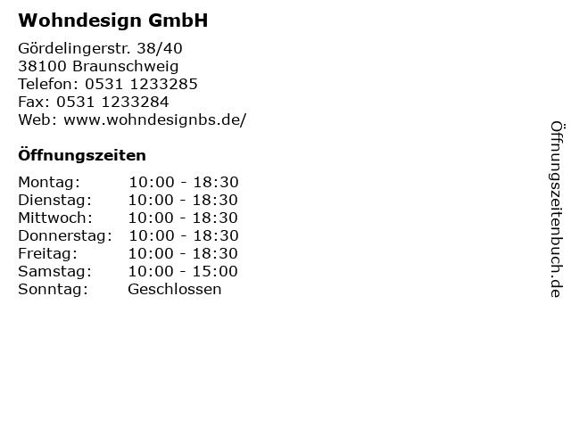ᐅ Offnungszeiten Wohndesign Gmbh Gordelingerstr 38 40 In