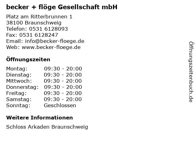 becker + flöge Gesellschaft mbH in Braunschweig: Adresse und Öffnungszeiten