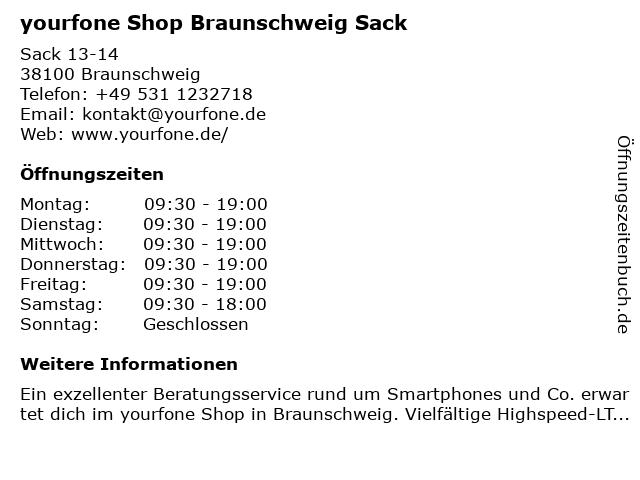 yourfone Shop Braunschweig Sack in Braunschweig: Adresse und Öffnungszeiten