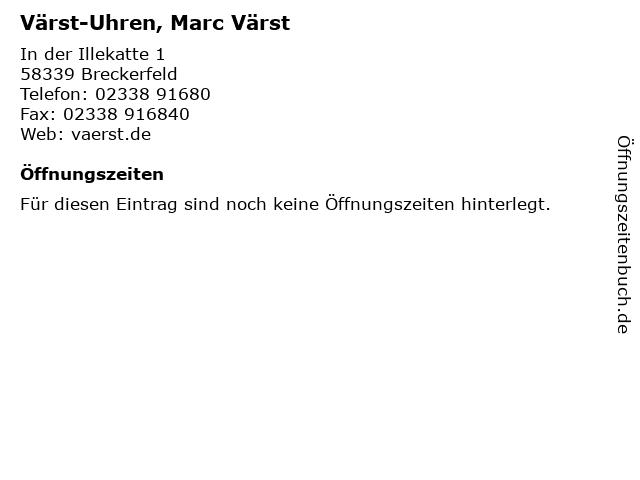 ᐅ Offnungszeiten Varst Uhren Marc Varst In Der
