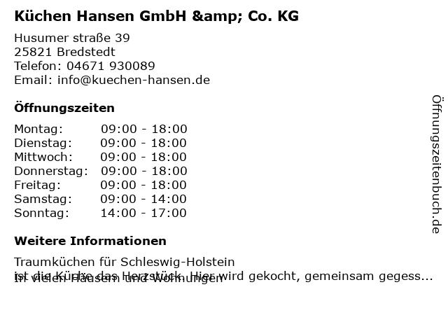 ᐅ Offnungszeiten Kuchen Hansen Gmbh Co Kg Husumer Strasse 39 In Bredstedt