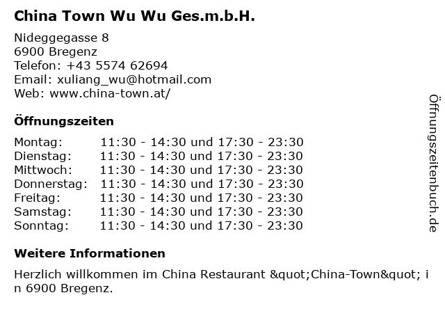 China Town Wu Wu Ges.m.b.H. in Bregenz: Adresse und Öffnungszeiten