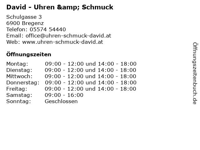 David - Uhren & Schmuck in Bregenz: Adresse und Öffnungszeiten