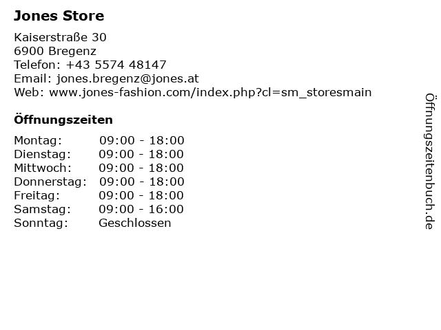 Jones Store in Bregenz: Adresse und Öffnungszeiten