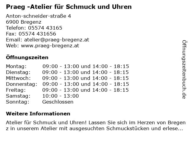 Praeg -Atelier für Schmuck und Uhren in Bregenz: Adresse und Öffnungszeiten
