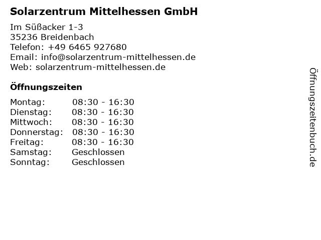 Solarzentrum Mittelhessen GmbH in Breidenbach: Adresse und Öffnungszeiten