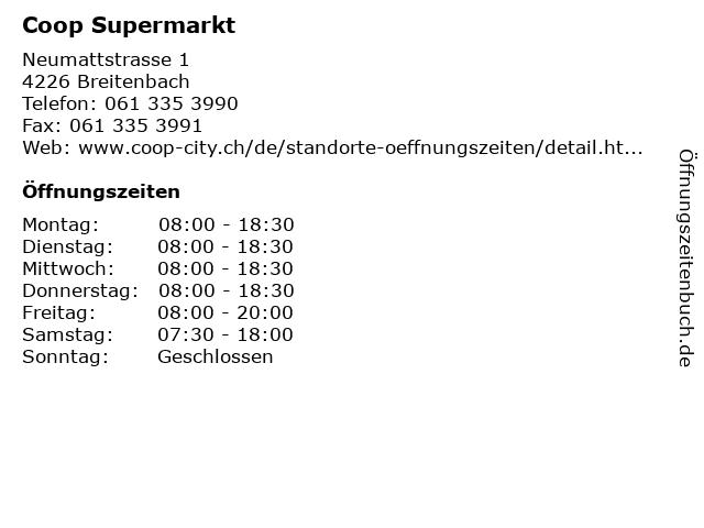 Coop Supermarkt in Breitenbach: Adresse und Öffnungszeiten