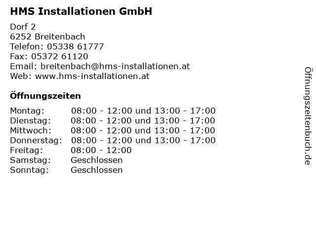 HMS Installationen GmbH in Breitenbach: Adresse und Öffnungszeiten