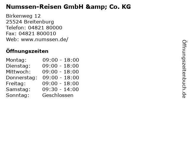 Numssen-Reisen GmbH & Co. KG in Breitenburg: Adresse und Öffnungszeiten