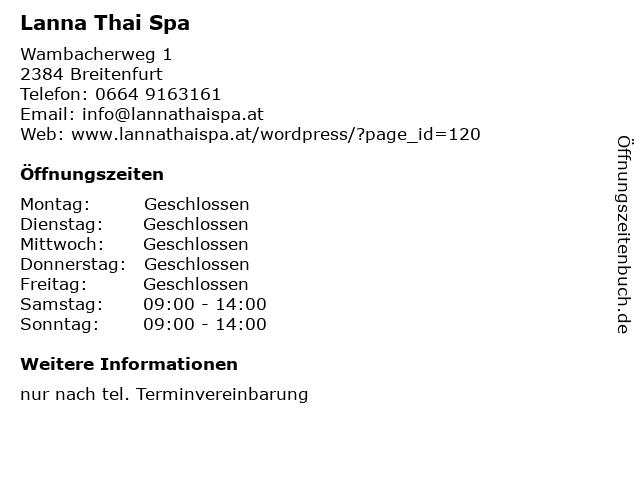 Lanna Thai Spa in Breitenfurt: Adresse und Öffnungszeiten