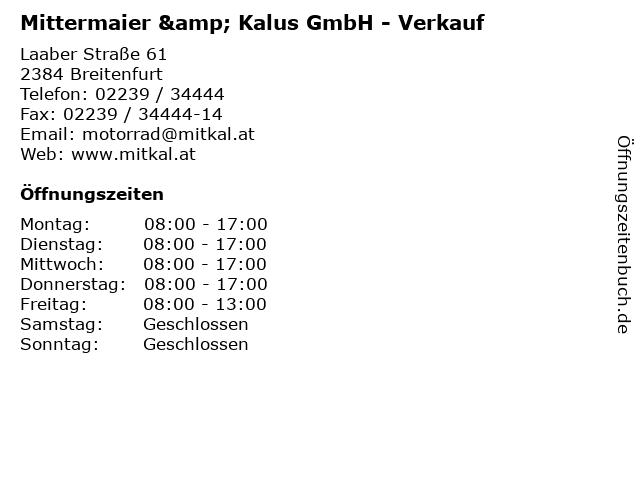 Mittermaier & Kalus GmbH - Verkauf in Breitenfurt: Adresse und Öffnungszeiten