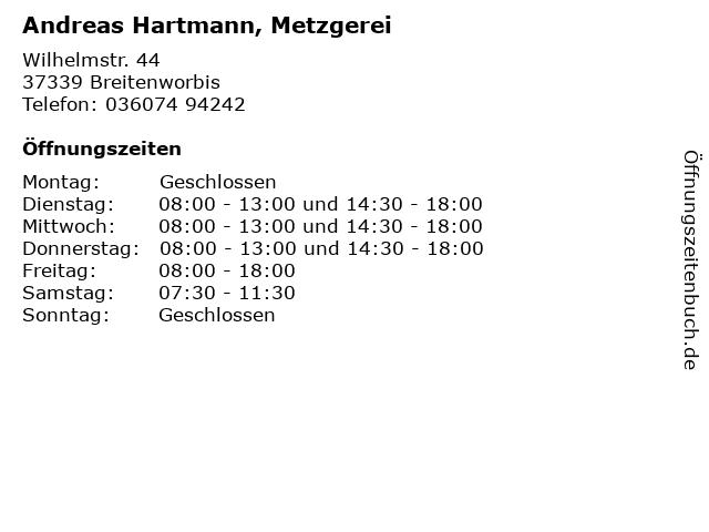 Andreas Hartmann, Metzgerei in Breitenworbis: Adresse und Öffnungszeiten