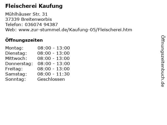 Fleischerei Kaufung in Breitenworbis: Adresse und Öffnungszeiten