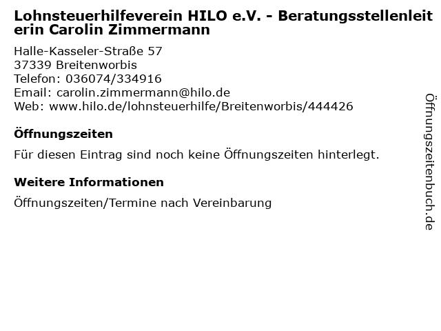 Lohnsteuerhilfeverein HILO e.V. - Beratungsstellenleiterin Carolin Zimmermann in Breitenworbis: Adresse und Öffnungszeiten