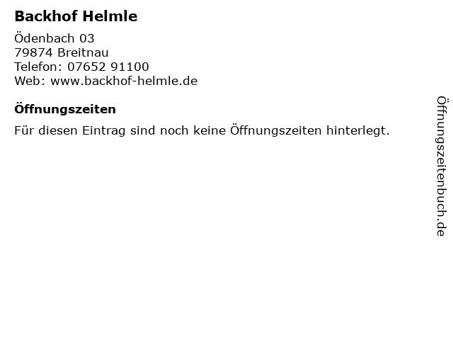 Backhof Helmle in Breitnau: Adresse und Öffnungszeiten